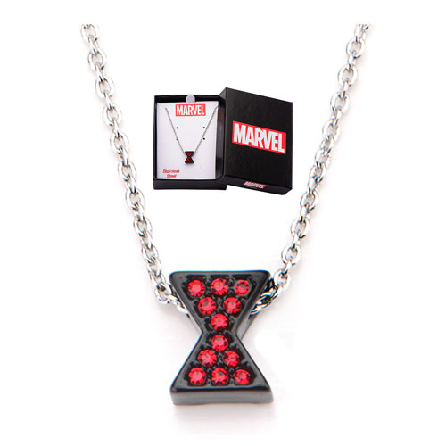 Avengers Black Widow Symbol Red Bling Gems Necklace