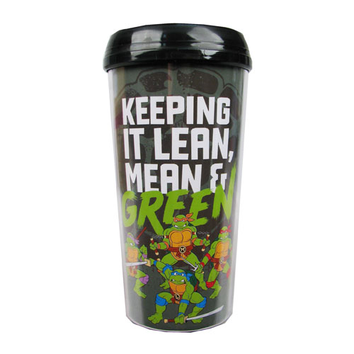 Teenage Mutant Ninja Turtles Lean, Mean, and Green 16 oz. Plastic Travel Mug