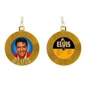 Elvis Presley gold Record 3 1/2-Inches Glass Ornament