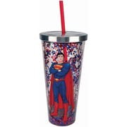 Superman Glitter 20 oz. Acrylic Cup with Straw