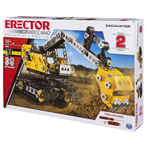 Erector by Meccano 2-in-1 Excavator and Bulldozer Model Building Kit