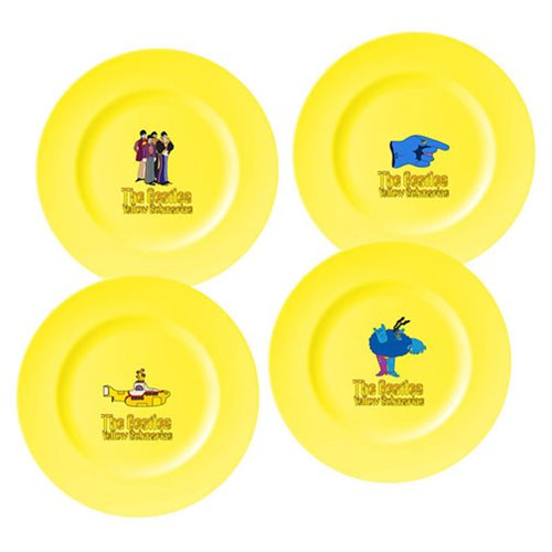 Beatles Yellow Submarine 10-Inch Ceramic Dinner Plate 4-Pack
