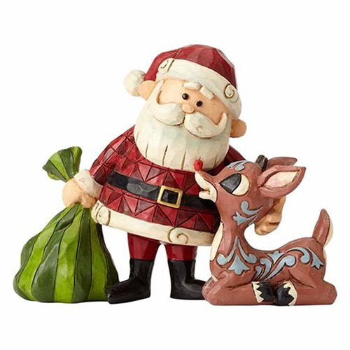 Rudolph the Red-Nosed Reindeer Rudolph and Santa with Bag Statue by Jim Shore