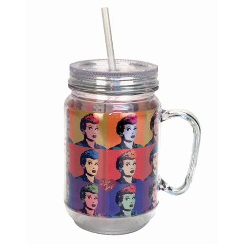I Love Lucy Warhol Art Mason-Style Plastic Jar with Lid and Handle