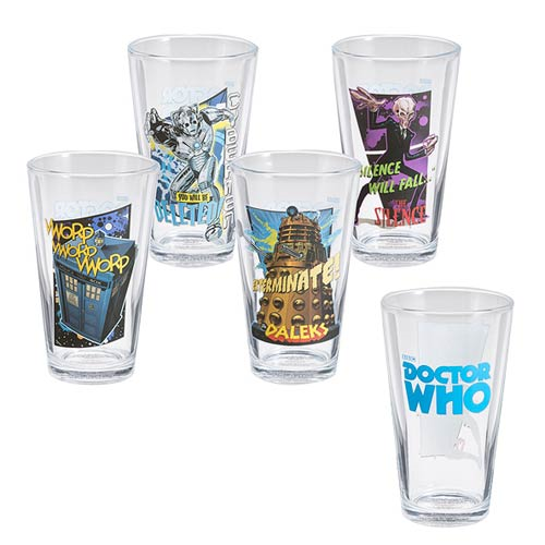 Doctor Who Comic Book Pint Glass 4-Pack