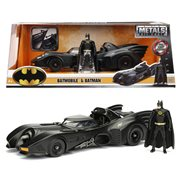Batman 1989 Movie Batmobile 1:24 Scale Die-Cast Metal Vehicle with Figure
