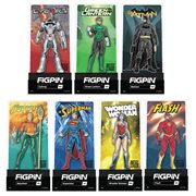 DC Comics Justice League FiGPiNs Enamel Pins 9-Pack Display Case