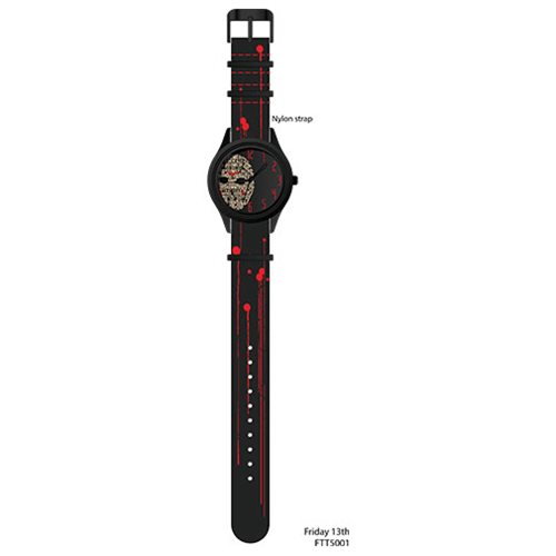 Friday the 13th Jason Voorhees Letter Print Mask with Blood Stain Deco Strap Watch