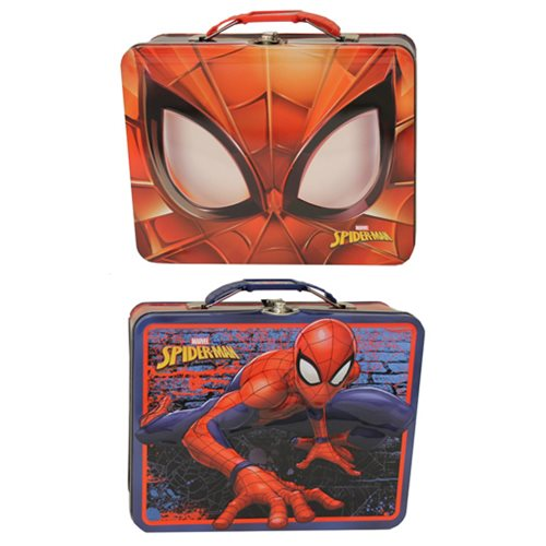 Spider-Man Large Embossed Carryall Tin Tote Lunch Box Set