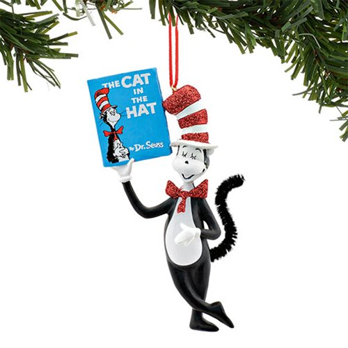 Dr. Seuss Cat in the Hat Holding Book Ornament