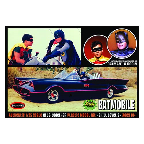 Batman 1966 TV Series Batmobile with Batman and Robin Figures Model Kit