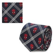 Spider-Man Navy Plaid Mens Silk Tie