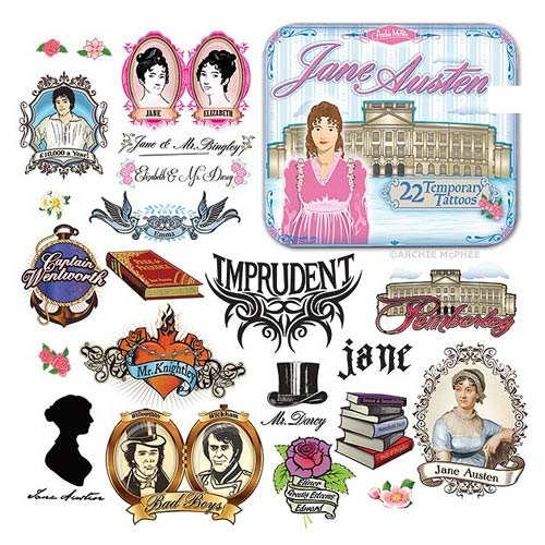 Jane Austen Temporary Tattoo Set