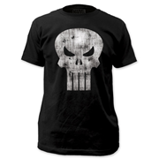 Punisher White Distressed Skull Logo Black T-Shirt