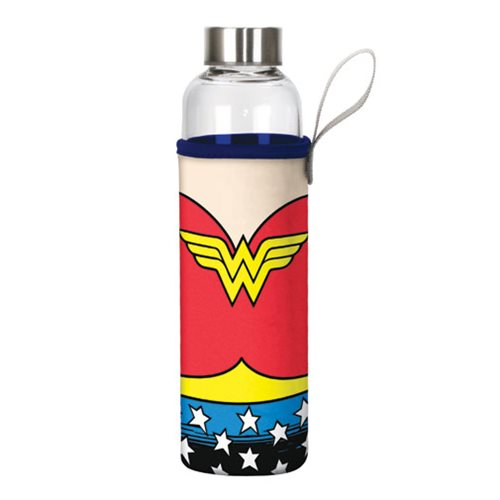 Wonder Woman Logo 20 oz. Glass Water Bottle with Neoprene Sleeve
