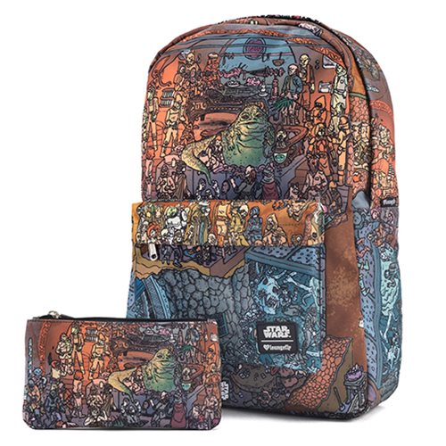 Star Wars Jabba's Palace Print Nylon Backpack and Pencil Case Set - Entertainment Earth Exclusive