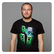 Minecraft Three Creeper Moon Black Premium T-Shirt