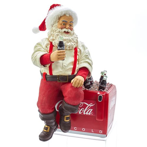 Coca-Cola Santa on Cooler 10 1/2-Inch Statue
