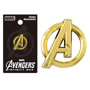 Avengers A Logo Gold Colored Pewter Lapel Pin