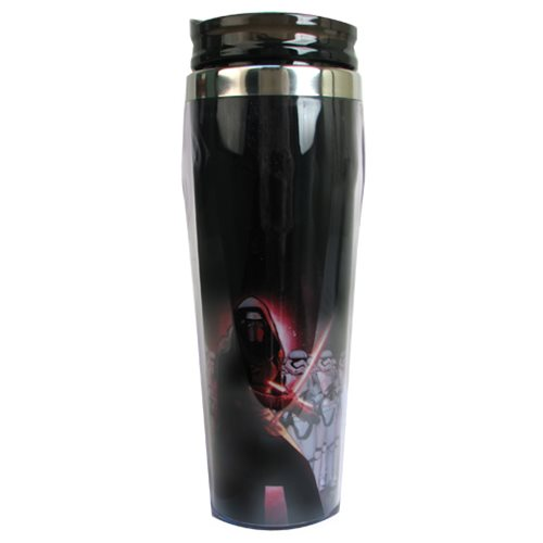 Star Wars: Episode VII - The Force Awakens Kylo Ren with Stormtroopers 16 oz. Curved Plastic Travel Mug