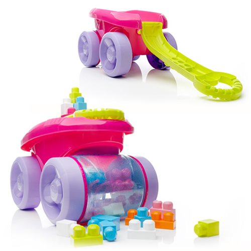 Mega Bloks First Builders Block Scooping Pink Wagon Vehicle