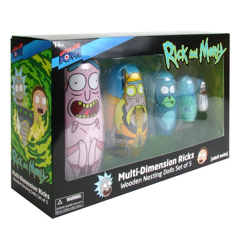 Rick and Morty Multi-Dimension Ricks Nesting Dolls Set of 5, Not Mint