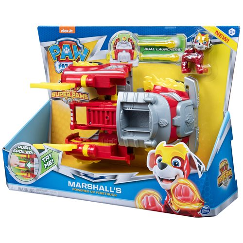 PAW Patrol Mighty Pups Super PAWs Marshall's Powered Up Fire Truck Transforming Vehicle