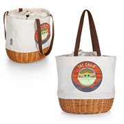 Star Wars The Mandalorian Grogu Beige Coronado Canvas and Willow Basket Tote Bag