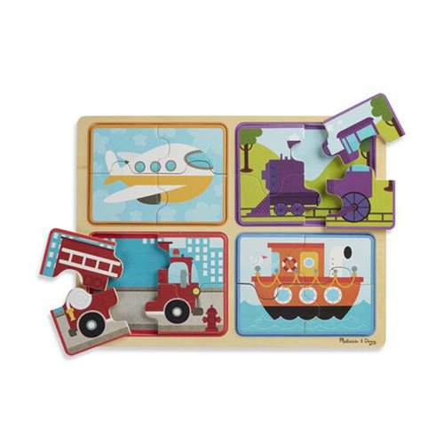 Melissa & Doug Natural Play Ready, Set, Go Wooden 16-Piece Puzzle