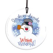 Frosty the Snowman Wonderful Winter StarFire Prints Hanging Glass Print
