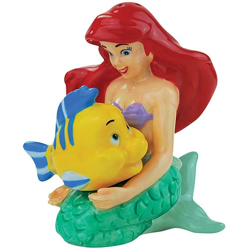 Little Mermaid Ariel and Flounder Salt and Pepper Shakers
