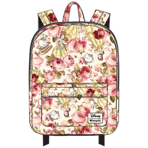 Beauty and the Beast Belle Character Floral Print Nylon Backpack