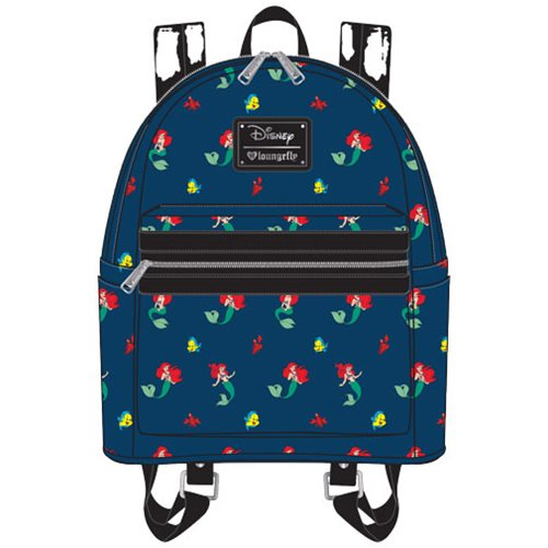 The Little Mermaid Ariel Flounder Sebastian Print Mini Backpack