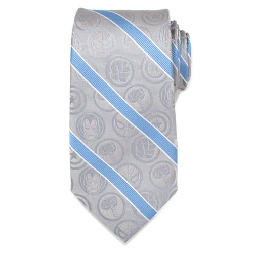 Marvel Comics Gray and Blue Stripe Mens Silk Tie