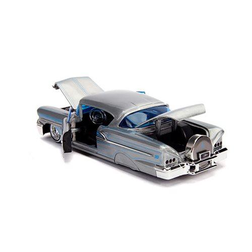 1958 Chevy Impala Die-cast Car 1:24 Jada Toys Showroom 8 inch BLACK White Walls