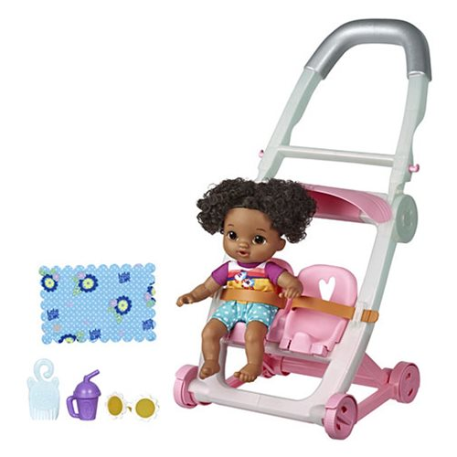 Baby Alive Littles Roll and Kick Stroller Doll - Black Hair