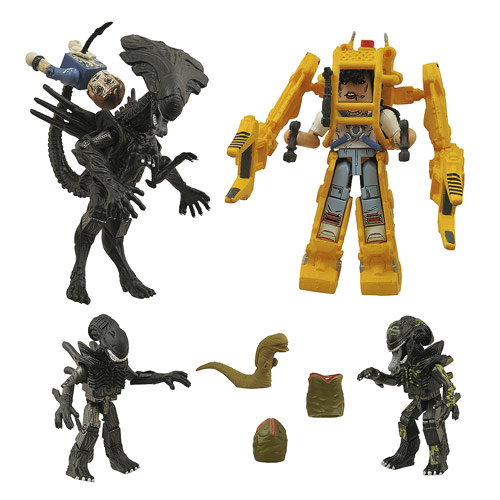 Aliens Deluxe Queen and Power Loader Minimates Set