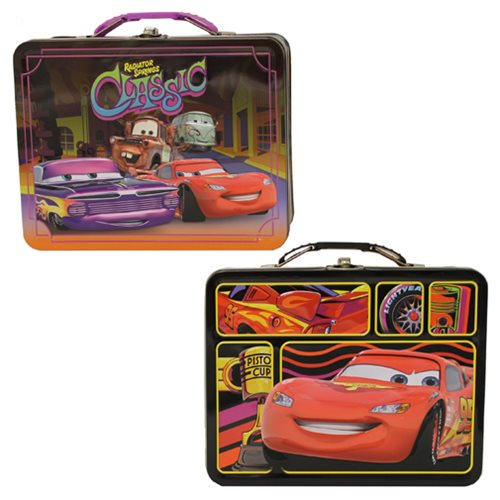 Cars Large Carry All Embossed Tin Tote Lunch Box Set