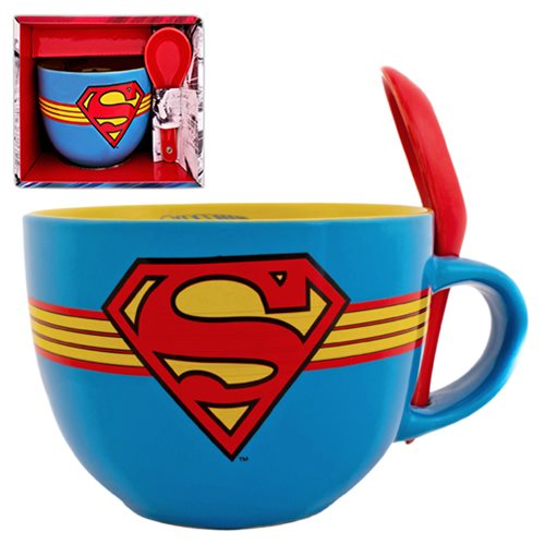 Superman Stars Soup Mug with Spoon
