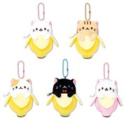 Bananya 4 1/2-Inch Zipper Plush Key Chain Display Case
