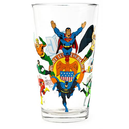 Justice League Toon Tumbler Pint Glass