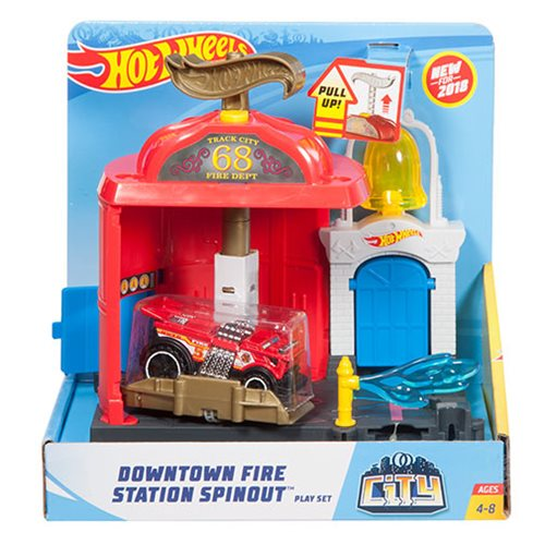 Hot Wheels Downtown Fire Station Spinout Playset, Not Mint
