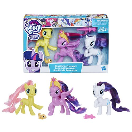 My Little Pony Equestria Friends Twilight Sparkle, Rarity, and Fluttershy Mini-Figures