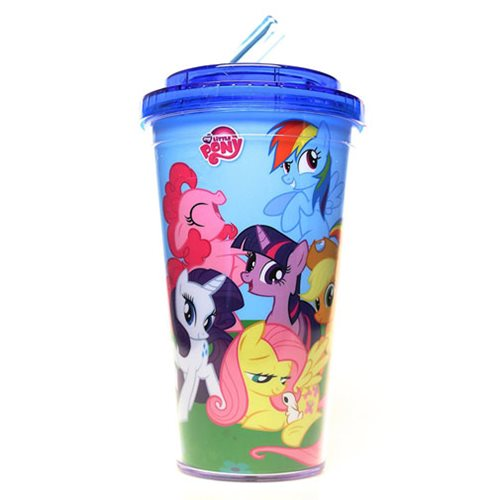My Little Pony Friendship is Magic Plastic Flip Straw Cold Cup