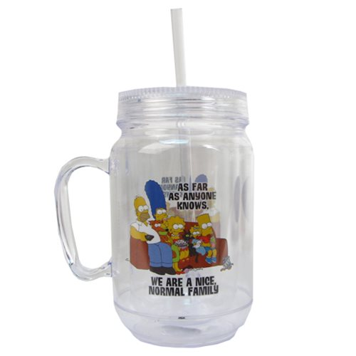 The Simpsons Normal Family 16 oz. Mason-Style Plastic Jar with Lid and Handle