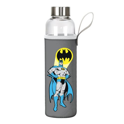 Batman 20 oz. Glass Water Bottle with Neoprene Sleeve