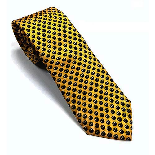 Star Wars Rebel Alliance Symbol Pattern Yellow and Navy Italian Silk Tie