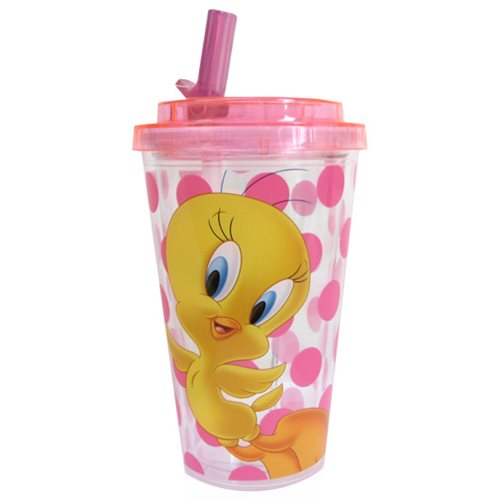 Looney Tunes Tweety Bird 16 oz. Flip-Straw Travel Cup