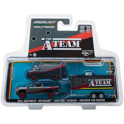The A-Team 1983 Hitch & Tow Series 5 2015 Chevrolet Silverado with 1983 GMC Vandura 1:64 Scale Die Cast Metal Vehicle