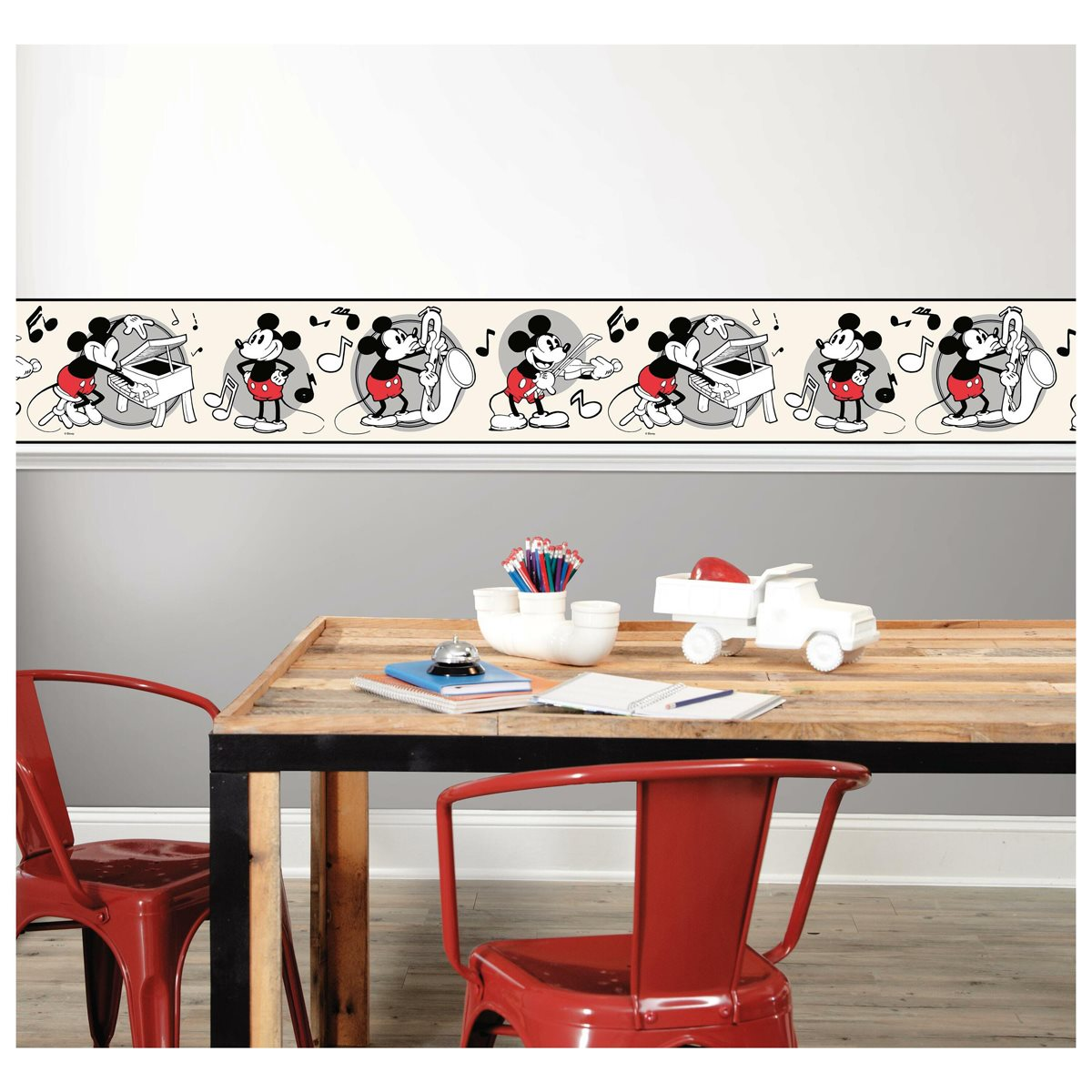 Vintage Mickey Mouse Peel and Stick Wallpaper Border
